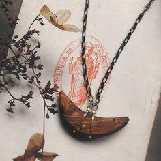 crescent moon necklace  wooden moon pendant necklace  by gorimbaud