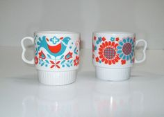 Mid Century Modern Teal Coral Ceramic Mugs Sixties Coffee Cups Japan