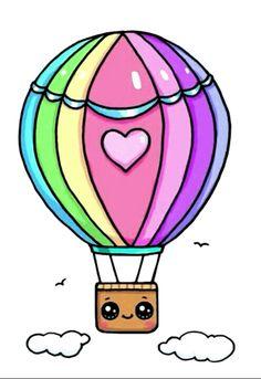Montgolfière - Real Tutorial and Ideas Kawaii Girl Drawings, Sweet Drawings, Cute Food Drawings, Cute Animal Drawings, Cartoon Drawings, Doodles Kawaii, Cute Doodles, Arte Do Kawaii, Kawaii Art