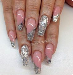 Shattered glass nail art idea and inspiration Sexy Nails, Hot Nails, Fancy Nails, Fabulous Nails, Gorgeous Nails, Pretty Nails, Beautiful Nail Designs, Beautiful Nail Art, Luminous Nails