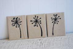 Cover a canvas with burlap using hot glue or staple gun. Then add words (using sharpie or paint pen), lace, simple designs, or a little doily on the side for some added personality.
