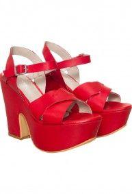 Mary Joe - Sandalias plataforma Forrada Cuero rojo