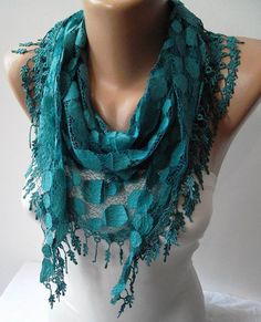 Turqouise Blue and Laced Fabric Scarf  with the Same Color Trim Edge...   # Pin++ for Pinterest #
