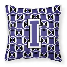 Letter I Football Purple and White Fabric Decorative Pillow CJ1068-IPW1414