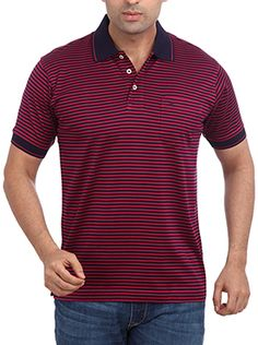 If you prefer dark colors then, Park Avenue red colored t-shirt is a sure buy for you. This dark red polo neck t-shirt has a black collar and black sleeve hem. This Park Avenue t-shirt has a red stripe on the collar and sleeve hem that adds a character to this piece of garment. This 100% cotton t-shirt when teamed up with black chinos and loafers gives it a perfect semi casual look. You can have a rugged look by pairing it with blue denims. Semi Casual, Casual Looks, Black Chinos, Rugged Look, Polo Neck, Park Avenue, Dark Colors, Dark Red, Tshirt Colors