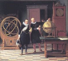 15 year old King Christian IV together with astronomer Tycho Brahe at Uraniborg in 1592. Maleri af Eckersberg, 1831.