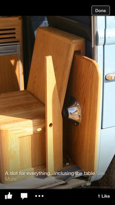 Camper table storage..... .... An excellent idea.... saves space too!