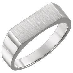 A fully solid backed men's white gold rectangular engravable signet ring in your choice of or white gold, from Apples of Gold Jewelry. Signet Ring, Personalized Jewelry, Gold Jewelry, White Gold, Wedding Rings, Engagement Rings, Bracelets, Silver, Personalised Jewellery