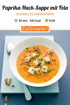 Quick weight loss dinner: chopped paprika soup with sheep cheese eatsmarter.de Informations About Paprika-Hack-Suppe m Fast Dinners, Easy Meals, Beef Recipes, Soup Recipes, Easy Recipes, Cookies Receta, Clean Eating Soup, Le Diner, Casserole Recipes