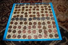 Coin values on a 100 square.