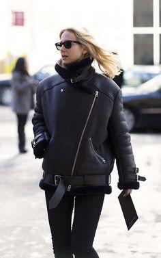 Acne black leather jacket. Street style | HarperandHarley