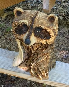 Raccoon Chainsaw Carving, Wood Carving, Carved Wood Sculpture, A Unique Wood Gift, Handmade Woodworking, Made in Ohio by Josh Carte