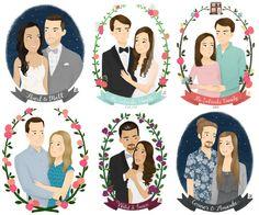 Custom Couples Portrait Illustration by emkimothy on Etsy