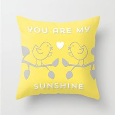 You are my sunshine nursery pillow decorative throw pillows grey yellow white pillow cover home decor ornament and decoration housewares. $35.00, via Etsy.
