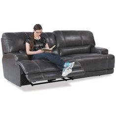 Picture of Charcoal Leather Power Recline Sofa