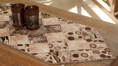 Quilted Coffee Table Runner Modern Coffee by RedNeedleQuilts