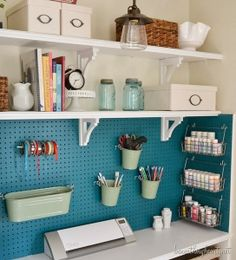 6th Street Design School: Feature Friday: Beneath My Heart Craft storage closet.  Love the teal pegboard!