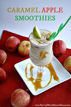 Caramel Apple Smoothies - Butter With a Side of Bread #recipes