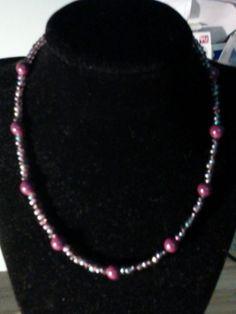 Purple Handmade Glass Beaded Necklace