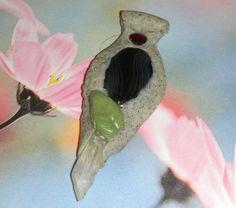Clay & Crystal Pendant Garnet Onyx Quartz by DeanasQuiltsandMore