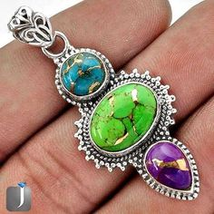 Green Purple Blue Copper Turquoise 925 Sterling Silver Pendant ...