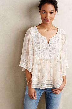 at anthropologie Aeris Silk Peasant Blouse
