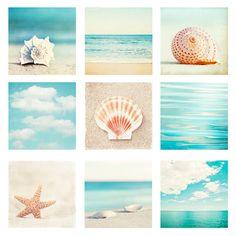 Beach & Ocean Photo Set - Nine Photographs - aqua blue teal beige - 9 seashell photography - seashore sea shore - coastal wall art prints