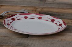 French vintage flat oval Digoin with pink by Frenchvintagecharm, €30.00