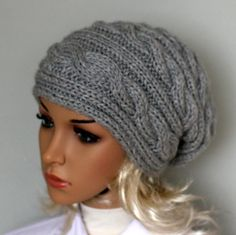 Hand knitted ladies slouchy beanie. A lovely hat by WoolyThinker