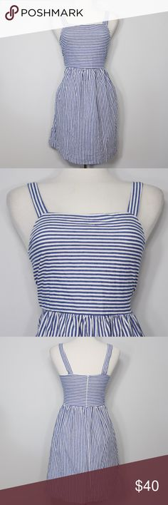 "❗FINAL PRICE❗ LOFT Blue and White Striped Dress Bust: 15"" (laying flat) Length: 34"" (top to hem)  A super cute dress in great condition! Square neckline. Zippers up from the back. No holes or stains. Comes from a smoke free environment.  📦Bundles welcome ❌NO trades, please. ⚡️Same/Next day shipping LOFT Dresses"