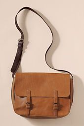 Women's Vintage Leather Messenger Bag from Land's End Canvas