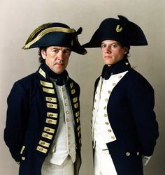Robert Lindsay and Ioan Gruffudd as (historical) Captain Edward Pellew and (fictional) Lieutenant Horatio Hornblower in the eponymous movie series. Robert Lindsay, Patrick O'brian, Ioan Gruffudd, Master And Commander, Navy Uniforms, Poldark, Napoleonic Wars, Historical Clothing, Historical Romance