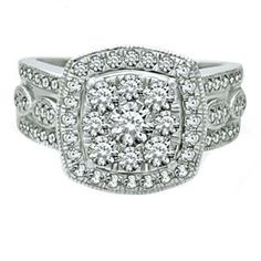 1.87 Ct D VVS1 Halo Style Engagement Ring In Solid 10K White Gold $999 # Free Stud Earring by JewelryHub on Opensky