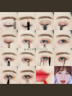 Redvelvet Make-up - Fashion outfits - Hautpflege Korean Makeup Look, Korean Makeup Tips, Asian Eye Makeup, Korean Makeup Tutorials, Smokey Eye Makeup, Makeup Eyeshadow, Asian Makeup Products, Korean Eyeshadow, Eyeshadow Brushes