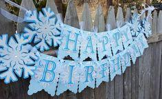 Frozen Snowflake Birthday Banner Frozen by 4HeartsPaperCraftCo