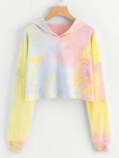 Drop Shoulder Tie Dye Crop HoodieFor Women-romwe to tie dye shirts Cute Teen Outfits, Kids Outfits Girls, Teen Fashion Outfits, Teenager Outfits, Cool Outfits, Casual Outfits, Crop Top Hoodie, Cropped Hoodie, Cute Sweatshirts
