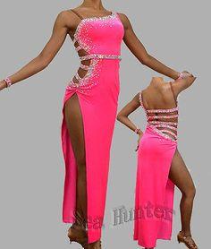 Competition Ballroom Cha Cha Ramba Latin Dance Dress US 8 UK 10 Bright Pink