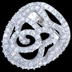 Silver ring, zirconia, flower Silver ring, Ag 925/1000 - sterling silver. More than a hundred glittering zirconia set in pav?� creates dazzling bright flower. Rhodium-plated. Height at the place of pattern is 27mm. Ring width at the place of design approx. 8mm, gradually narrows towards to the back up to approx. 3mm.