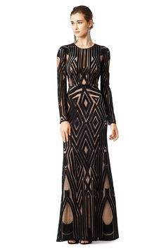 Black Geometric Embellished Chakra Gown BCBGMAXAZRIA @ Rent The Runway $115 ($578) GORGEOUS LOVE
