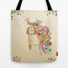 Cuckoo Peacock Clock Tote Bag by Bari J. - $22.00