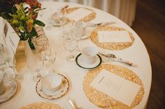 19 - gold doilies at reception genius! Get see through plates or white! Cheap and pretty!
