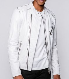 eb5ebb0fa3b02 Mens Full White Color Leather Punk Silver Spiked Studded Leather Brando Biker  Leather Jacket Belted