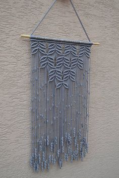 Home Decorative Macrame Wall Hanging by Mrcolmar on Etsy Macrame Projects, Crochet Projects, Craft Projects, Macrame Art, Fall Crafts, Diy And Crafts, Macrame Curtain, Weaving Art, Etsy