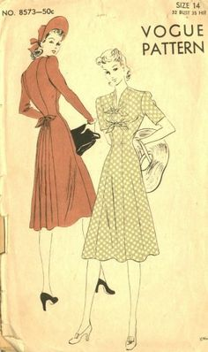 Vogue Glamour Dress This knock-out pattern is by Vogue–very classy with its princess lines and back skirt panel (just right for dancing).This knock-out pattern is by Vogue–very classy with its princess lines and back skirt panel (just right for dancing). 1940s Fashion, Vintage Fashion, Fashion Fashion, Fashion Outfits, Vintage Dresses, Vintage Outfits, 1940s Dresses, Vintage Clothing, Vintage Vogue Patterns