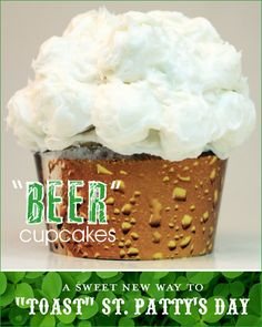 This is mine! I called it! A craft project and a baking project. Regular cupcake - with lots of white frosting that is wrapped in a glossy printed photo band of amber beer bubbles. Beer Cupcakes, Cupcake Cakes, Cup Cakes, St Patricks Day Cupcake, Cupcake Heaven, Beer Tasting, Cupcake Recipes, Beautiful Cakes, Sweet Treats