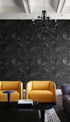 Sleek & Modern Black Medallion wallpaper from Wallquest's collection Nova