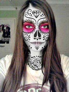 Day of the Dead Face Painting Tutorial for Kids: Celebrate the spiritual holiday with sugar skull face paint by on Candy Skull Makeup, Halloween Makeup Sugar Skull, Sugar Skull Costume, Cool Halloween Makeup, Candy Skulls, Halloween Stuff, Halloween Costumes, Diy Halloween, Skeleton Makeup