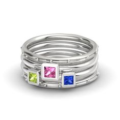 Unique stackable Mother's ring set - 4 individual rings with 3 stones.  You can mix and match the metals in the rings.  Choose silver, yellow, rose or white gold, or platinum.