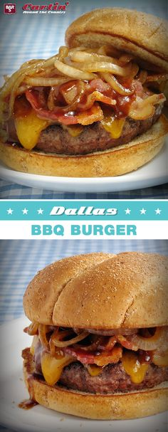 This Texas BBQ style burger topped with Bar-S bacon is sure to satisfy! Repin for your chance to WIN free Bar-S product!