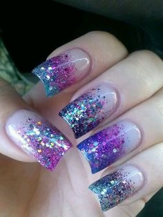 **Mel: These Nails** Purple and Blue glitter nails Pretty Nail Designs, Pretty Nail Art, Colorful Nail Designs, Acrylic Nail Designs, Nail Art Designs, Acrylic Nails, Gel Nails, Nails Design, Nail Polish